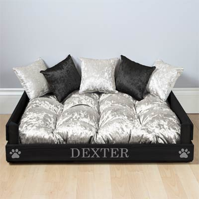 Personalised Wooden Dog Bed - Silver Velvet