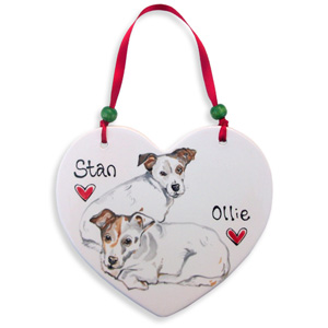 Decorative Dog Portrait Ceramic Heart