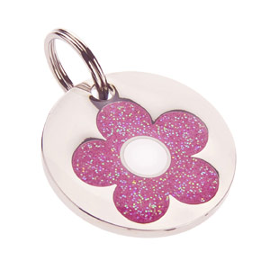 Small Dog ID Tag - Glitter Daisy