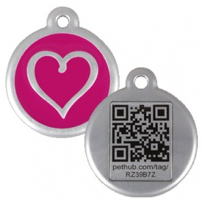 QR Dog Tag - Hot Pink Heart