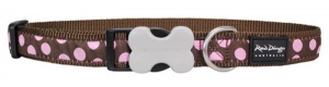 Red Dingo Dog Collar Pink Spots on Brown