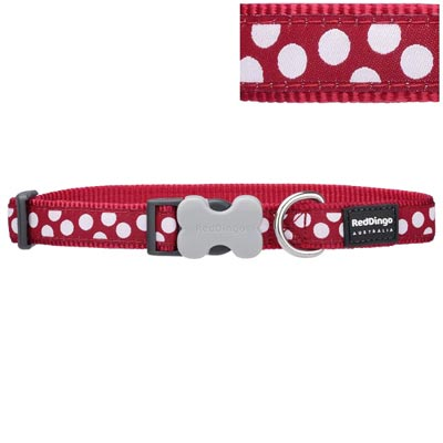 Red Dingo Dog Collar White Spots on Red