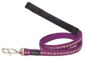 Red Dingo Dog Lead Daisy Chain Purple