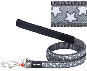 Red Dingo Dog Lead Grey Star