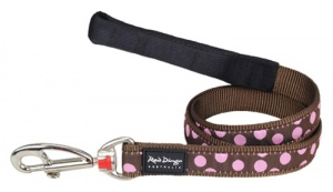 Red Dingo Dog Lead Pink Spots on Brown