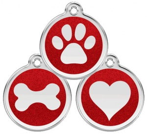 Glitter Enamel Red Dog Tag - Medium