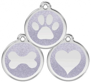 Glitter Enamel Silver Dog Tag - Large