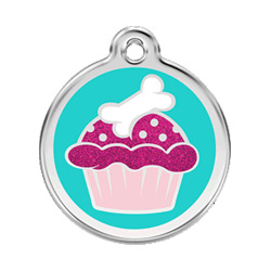 Cupcake Glitter Dog ID Tag - Small