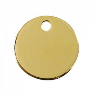 Plain Brass Dog Tag - Small Circle