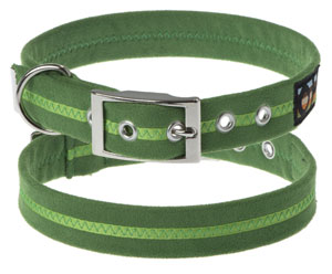 Faux Suede Apple Green Dog Collar