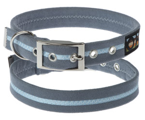 Faux Suede Sky Blue Dog Collar