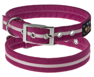 Faux Suede Hot Pink Dog Collar
