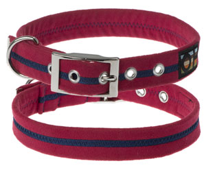 Faux Suede Bold Red Dog Collar