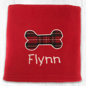 Tartan Bone Personalised Dog Blanket