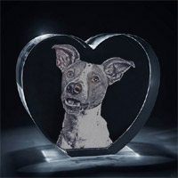 3D Photo Engraved Crystal Heart - Standing