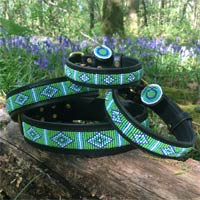 Beaded Leather Dog Collar - Mombasa Green