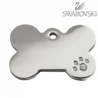 Swarovski Diamante Dog Tag - Medium Bone