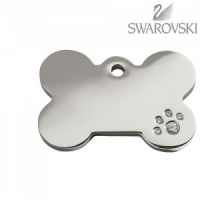 Swarovski Diamante Dog Tag - Small Bone