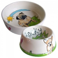 Dog Bowl With Dog's Name & Portrait