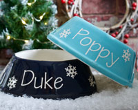 Personalised Christmas Dog Bowl - Snowflake