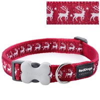 Christmas Dog Collar - Reindeer Red