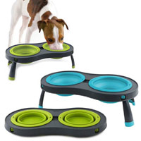 Collapsible Raised Dog Bowls - Double