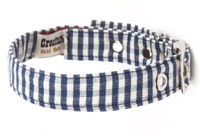 Fabric Dog Collar Blue Gingham