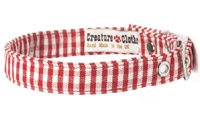 Fabric Dog Collar Red Gingham