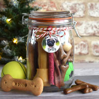 Photo Tag Dog Treat Jar - Filled