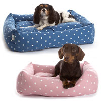 Deluxe Dotty Bolster Dog Bed