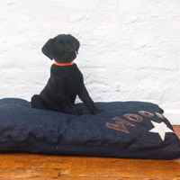 Doza Dog Cushion Denim Woof n Star