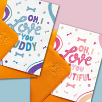 Edible Dog Greetings Cards - I Love You