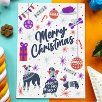 Edible Dog Christmas Card - Merry Christmas