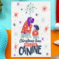 Edible Dog Christmas Card - Mistletoe Canine