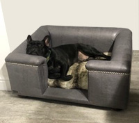 Sandringham Steel Grey Faux Leather Dog Bed
