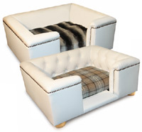 Sandringham Faux White Leather Dog Bed