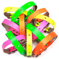 Galaxy Neon Leather Dog Collar