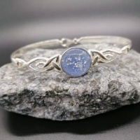 Glass Eternity Ashes Silver Celtic Bangle