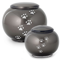 Glossop Glass Pet Ashes Urn - Grey