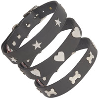 Studded Grey Leather Dog Collar