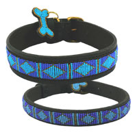 Beaded Leather Dog Collar - Rafiki Blue