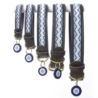 Beaded Leather Dog Collar - Kilifi Blue