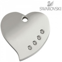 Swarovski Diamante Dog Tag - Large Heart