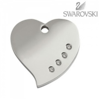 Swarovski Diamante Dog Tag - Medium Heart