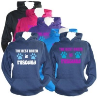 Unisex Slogan Hoodie - The Best Breed is Rescued