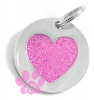Dog ID Tag - Glitter Pink Heart