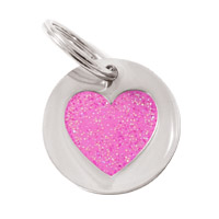 Small Dog ID Tag - Glitter Pink Heart
