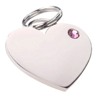 Dog ID Tag - Rhinestone Heart