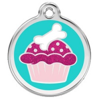 Cupcake Glitter Dog ID Tag - Large