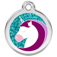 Unicorn Glitter Dog ID Tag - Large